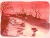Aquarelle monochrome rouge